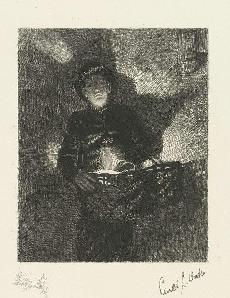 Carel Lodewijk Dake   Jongen als straatventer met mand met koopwaren bij avond, Carel Lodewijk Dake, 1867 - 1886   Jongen als straatventer staat met een mand met koopwaren hangend aan zijn schouder voor een muur bij avond. In de mand brand een kaars welke het gelaat van de jongen van onderen belicht en waardoor er een grillige schaduw valt op de muur achter hem. In de marge linksonder een remarque met een distel.