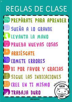 Cartel para el aula o para la clase con las reglas para conseguir un buen tono para el aprendizaje y ayudar a regular las interacciones entre alumnos.