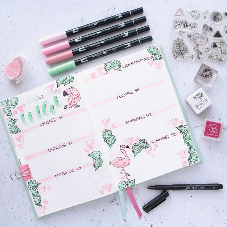 49 of the Pinkest Flamingo bullet journal spreads