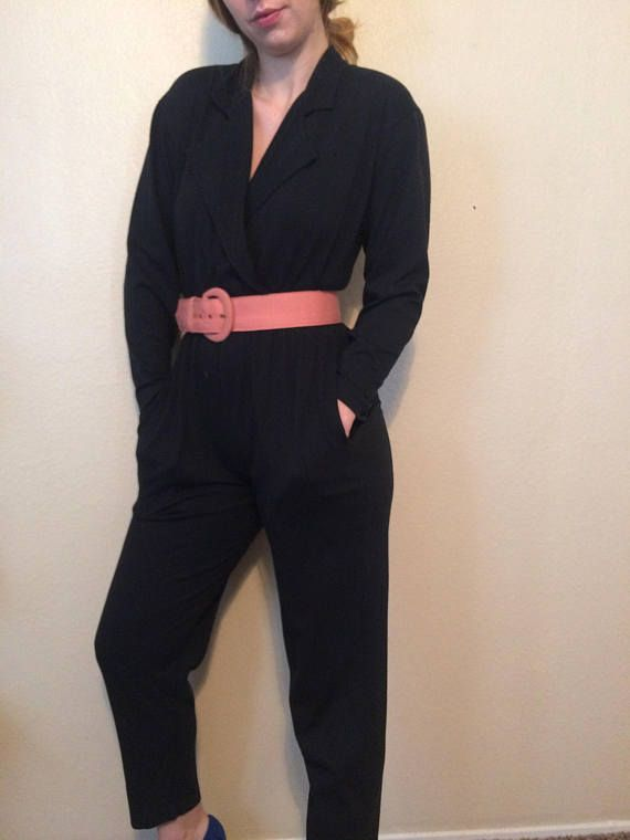 1980s Vintage Long sleeve Petite Black Jumpsuit