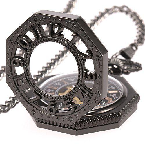 SIBOSUN Retro Old Railroad Style Black Octagon Steampunk Mechanical  Skeleton Hand Wind Pocket Watch