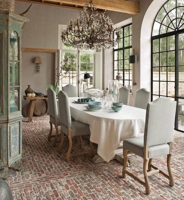 Sunroom Dining Room: Brick Floor, Sunroom