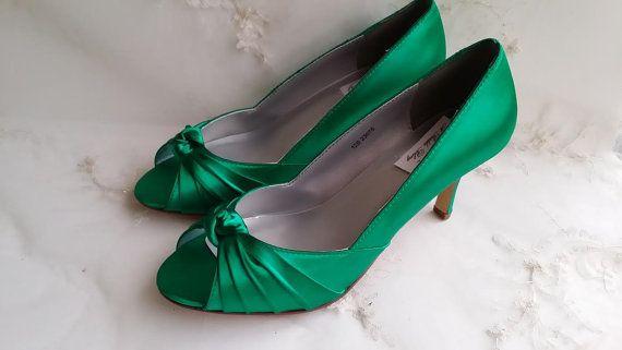 Smaragd grüne Hochzeit Schuhe Smaragd Grün Brautschuhe Smaragd Grün Brautjungfer…