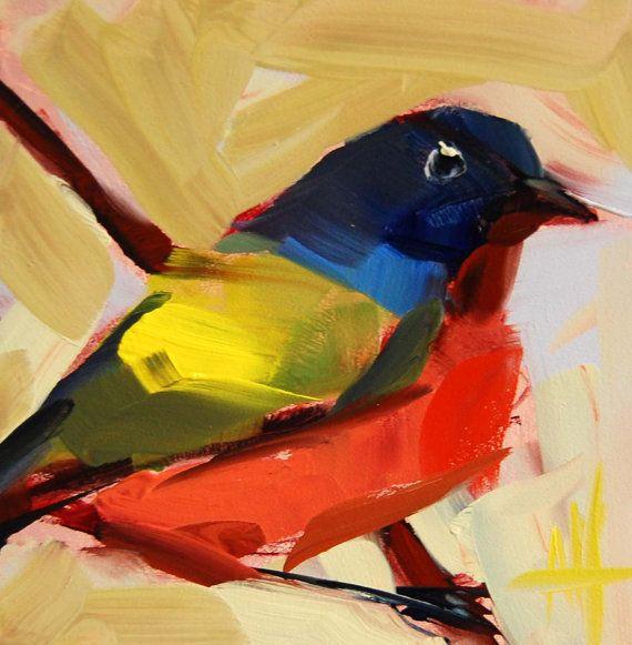 Painted Bunting no. 28 original bird oil painting by prattcreekart