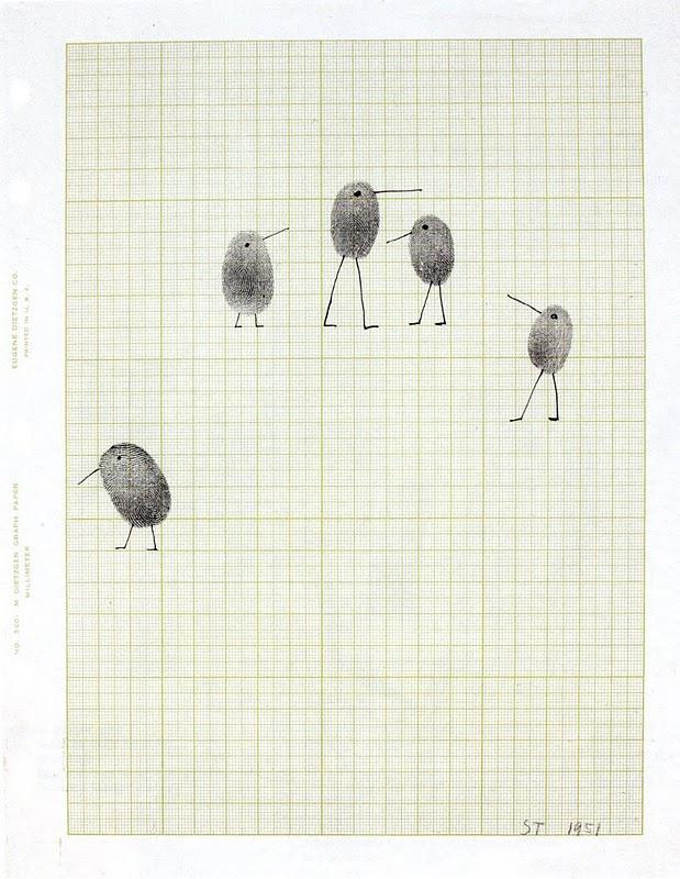 simple craft idea | Little fingerprint art by Saul Steinberg