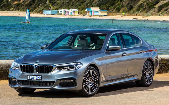 Download imagens G30, 2018 carros, BMW 530i Limousine M Sport, 4k, carros de luxo, carros alemães, 5-série, BMW