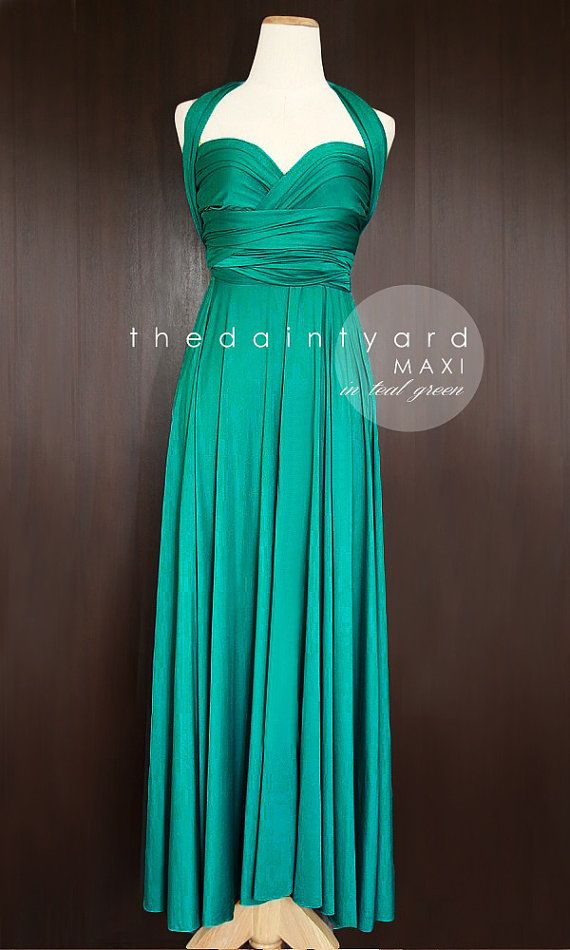 MAXI Teal Green Bridesmaid Convertible Dress by thedaintyard -- HEY! WHAT DO YOU THINK OF THIS...only $48 with shipping closer to $75