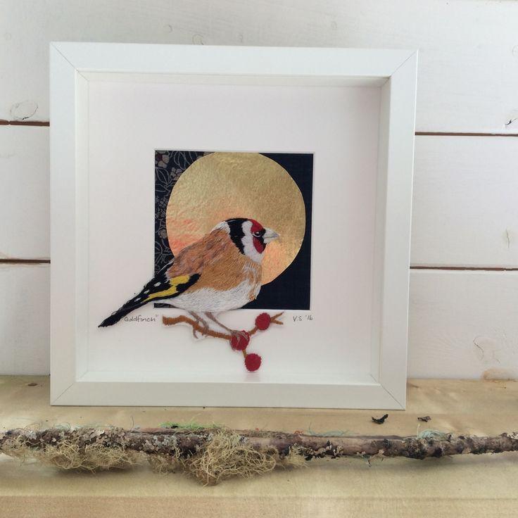 Goldfinch. Hand embroidered . Violet Shirran. Textile Artist.