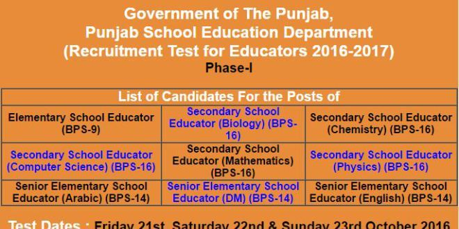 Punjab School Education Department NTS Test Dates October 2016