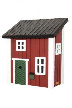 """""""Cassetta Postale rossa"""", cassetta postale dalle linee semplici ma curate nel dettaglio - progettata e sviluppata in Svezia - dotata di coperchio interno con serratura (lucchetto non incluso) - dipinta con colori ecocompatibili, resistenti all'esterno - Materiali: legno di pino con tetto in metallo"""