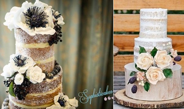 autumn naked cakes by Sophisticakes left, Rooney Girl Bakeshop right Tiffany Amber Photography for Southern Californian Bride