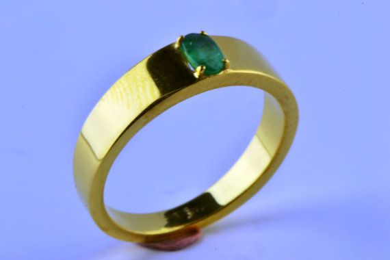 14K Gold Filled Natural Earth Mined Emerald by LuckyGirlAtelier