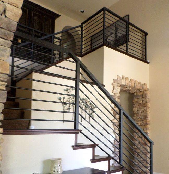 Horizontal Rod Iron Stair Railing Stair Railing Design Metal   Rod Iron Railing For Steps   Artistic   Aluminum   Front Porch   Custom   Corner