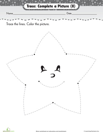 Worksheets: Trace and Color: Star