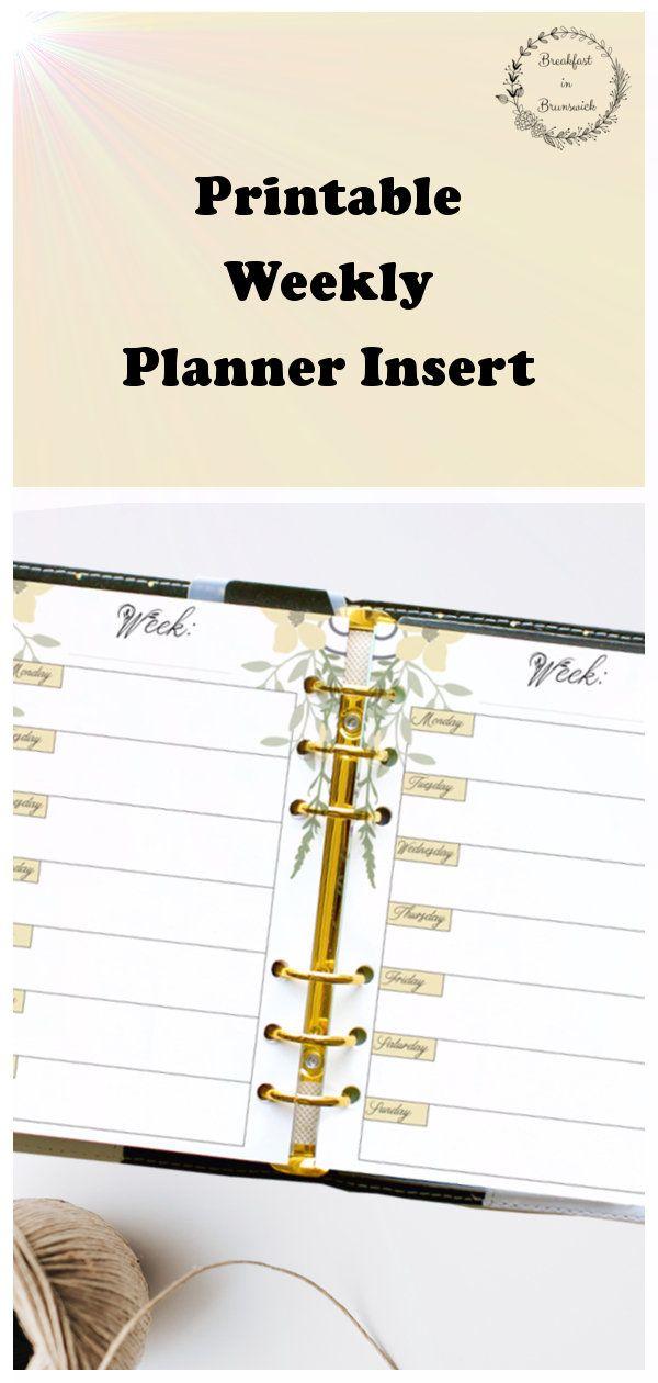 A5 - Half Page Weekly Planner, Printable Weekly Calendar, Ring