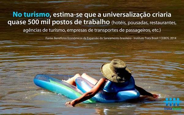 Renda gerada com o turismo alcançaria R$ 7,2 bilhões por ano em salários e teria impacto positivo no PIB de mais de R$ 12 bilhões para o País.  Fonte: Benefícios Econômicos da Expansão do Saneamento brasileiro - Instituto Trata Brasil / CEBDS, 2014  #SaneamentoÉTurismo