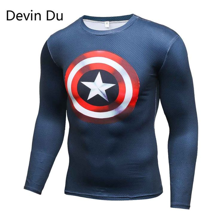 Mens T Shirts Fashion 2017 Compression Shirt Superman Captain America 3D Long Sleeve T Shirt Fitness Men Crossfit Brand Clothing #Affiliate