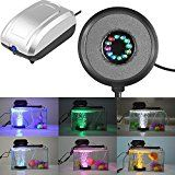New Waterproof LED Submersible Aquarium Light Round Fish Tank Bubble Lamps Air Pump (Led Light Uk Plug) Set06