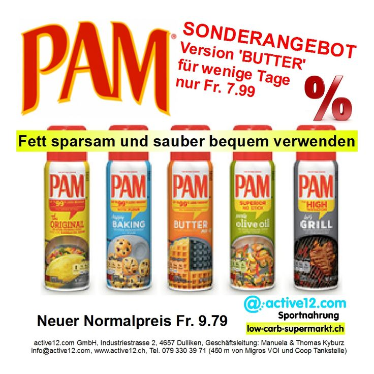 Fett sparsam und sauber bequem verwenden: PAM, Version BUTTER jetzt im ■ Sonderangebot nur Fr. 7.99. ■ Neuer Normalpreis alle Versionen inkl. 'Grill' Fr. 9.79. #Fett #sparsam #sauber #bequem #PAM #PAMSpray #Butter #Original #Baking #Olivenoel #probrokitchen #Grill #Rapsöl #kochen #Kochstudio #Sonderangebot #Aktion #Summertime #grillen #Kaloriensparen #backen #nutrition #lifestyle #health #healthylifestyle #fitness #fitnessschweiz #active12