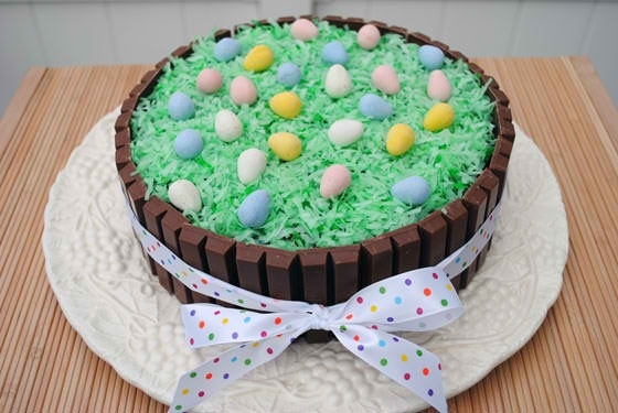 Easter Kit Kat Cake    Ingredients:  Your favorite cake  Icing  22 (.49 oz. size) Kit Kat bars  Coconut   Green food coloring   Cadbury Mini Eggs   Ribbon    Fun for the kids to make.... food party ideas