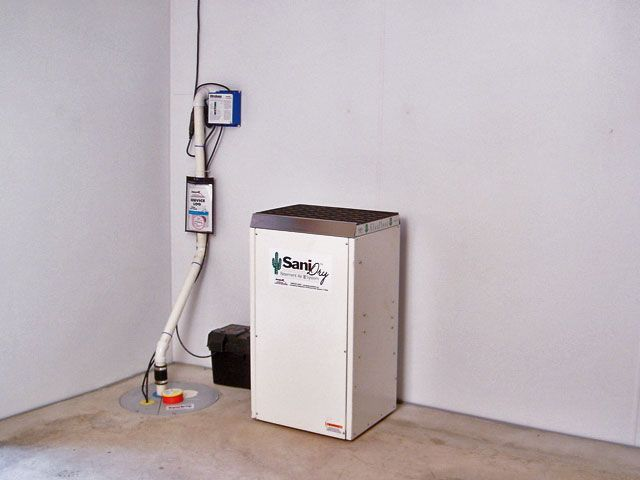 Our complete system, including a sump pump, battery backup, dehumidifier, drainage system, and our BrightWall basement wall panels.