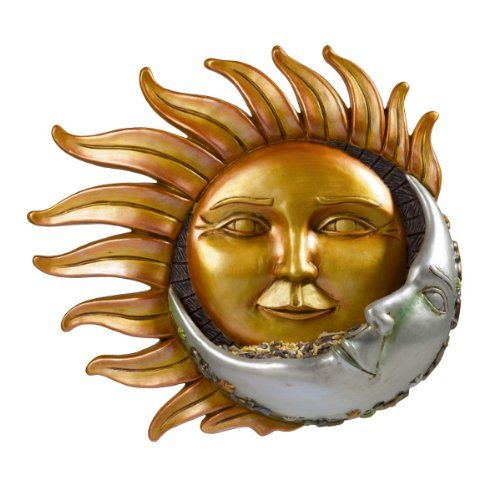 Grasslands Road Celestial Sun Moon Face Wall Bird Feeder