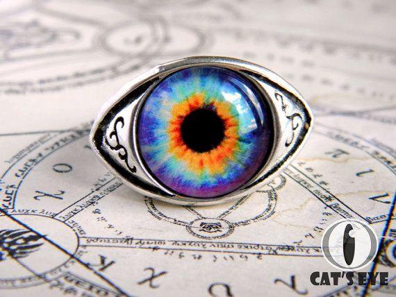 Adjustable human eye ring  colorful fantasy eye by CatsEyeHandmade