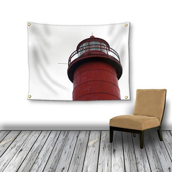 Fine Art Nature Photography for you and your fashionable home.  Red Lighthouse Tapestry Wall Hanging, Red and White Photo Tapestry, Coastal Tapestry Wall Hanging, Large Wall Decor, Lighthouse Garden Flag  ~Showcase art in your home in a... #christmasgift #inlightimagery #shopsmall #shopart #naturephotography #fineartgift #etsy