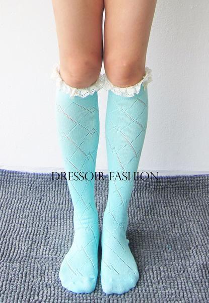 Mint lange sokken lichtblauw turkoois beenwarmers voor laarzen