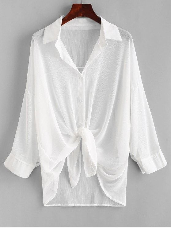 41c7e40a467169 Button Up Drop Shoulder Cover Up in 2019 | Summer shirt blouse ...
