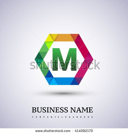 Colorful Letter M logo design in the hexagon. Vector design template elements for your application or company logo identity. - stock vector