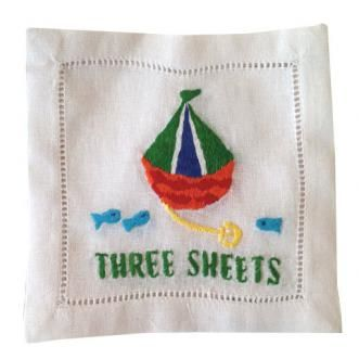 """Three Sheets"" Sailboat Embroidered Cocktail Napkins : www.biscuit-home.com"