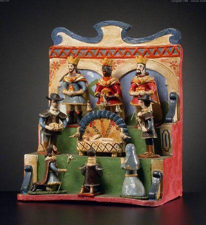 Presépio de trono, barro, século XX . Estremoz/ Alto Alentejo