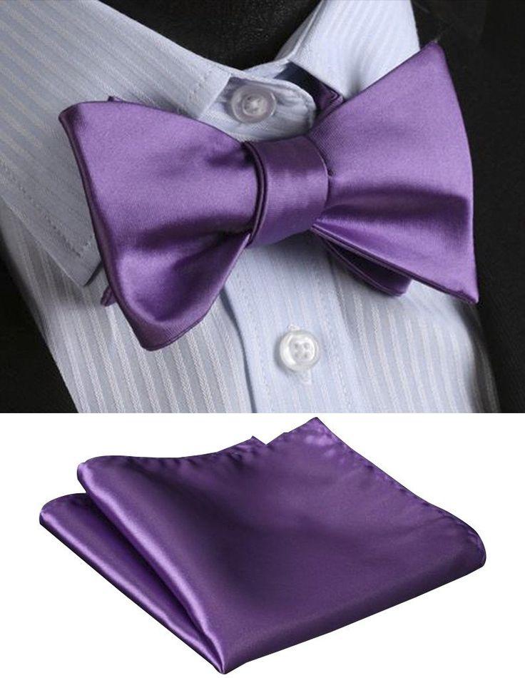 100% Purple Silk Self Tie Bow Tie   Pocket Square (Optional)