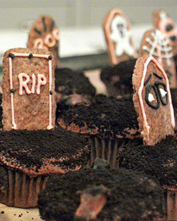 tombstone cupcakes these spooky halloween cupcakes are almost as fun to make as they are to eat and kids will love to join in - Martha Stewart Halloween Cakes