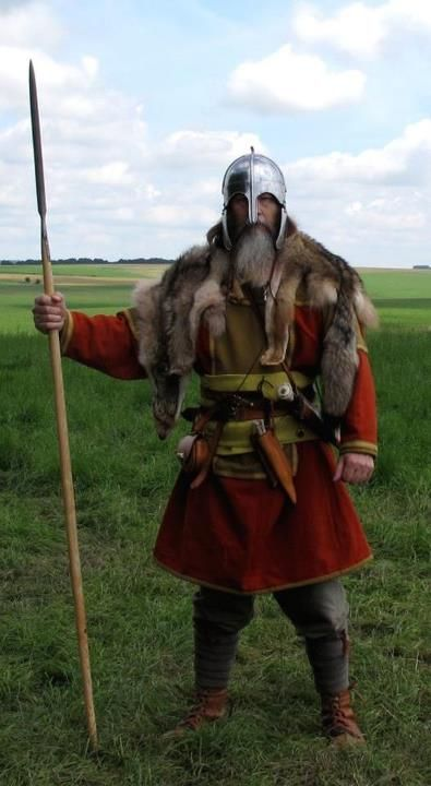 Wulfheodenas member in 8th century Anglo-Saxon battle clothes and gear.