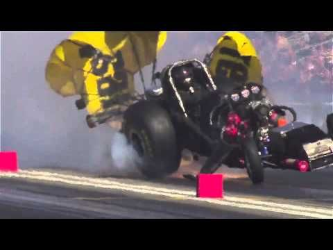 Todd Lesenko's violent nitro funny car explosion at Pomona 2012. You will not believe this HD slow motion video1