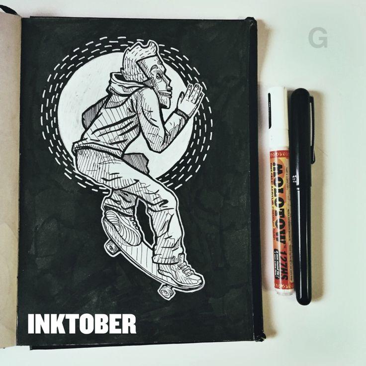 -25- #inktober #ink #illustration #inktober2015 #comics #backtothefuture #character #caricature #sketchbook #gutaart #sketch #topcreator #skate #mask #halloween #graffiti