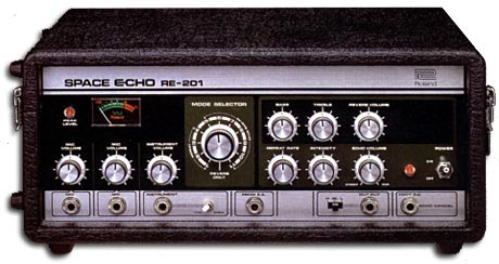 Roland RE-201 - If there was an Oscar for 'Best Supporting Technology' the Roland 'Space Echo' should win it, hands down...Users? Radiohead,  The Orb, Lee Perry, Portishead, Gorillaz, The Clash, Dust Brothers, Bob Marley, On-U Sound, James Blake, Fink, Smith and Mighty, Massive Attack,  Bassnectar, A.R. Kane, Goldfrapp, The Pop Group, Santogold, Koop, Lady Gaga, Dub Syndicate, David Bowie, Nouvelle Vague, U2, Brian Eno, Burial, Gang of Four, Orbital...the list goes on...K