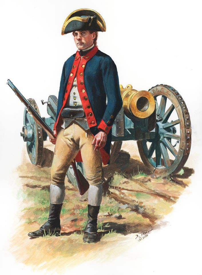 American Revolutionary War: Private of Knox's Artillery Regiment 1776