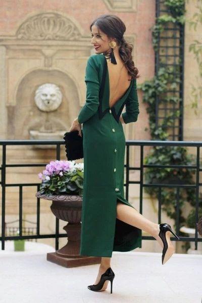 Sereia vestido de baile manga longa vestido de festa vestido sem costas vestido verde moda   – Beautiful cloths