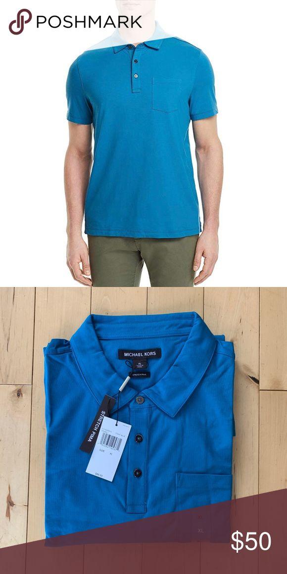 a5f7b31c7b85e Michael Kors Men s Coast Blue Polo Shirt Size XL Michael Kors Men s Bryant  Stretch Pima Cotton Short Sleeve Polo Shirt Size XL New Co…