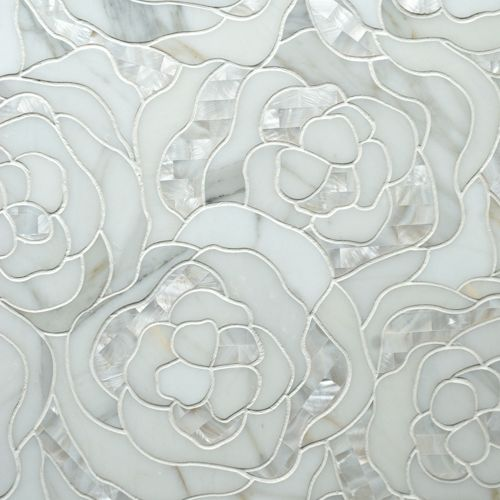 "Chrysanthemum Calacatta Gold With Mother of Pearl 13-3/8"" x 16-1/2"" interlocking sheet"