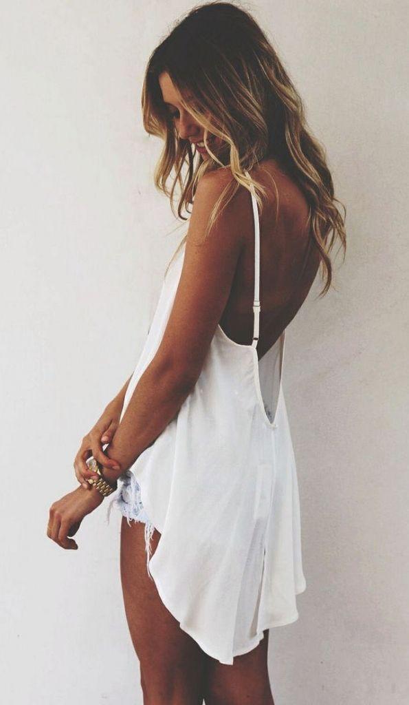#summer #fashion / scoop back top