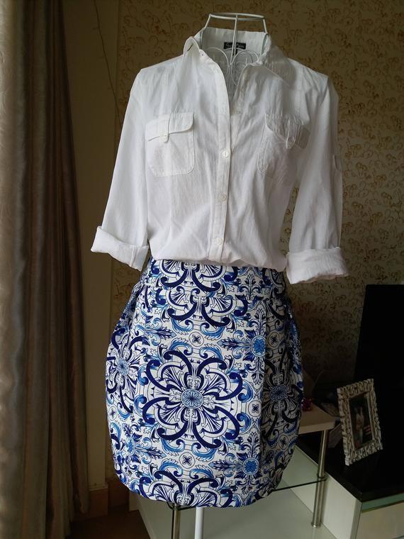 Jupe Avec Imprime Mosaique Bleu Jupe Bleue Et Blanche Jupe Tulipe Bleu Porcelaine Jupe Jupe Tulipe Jupe Bleu