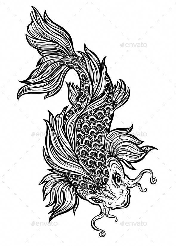 Hand Drawn Koi Carp Fish S Izobrazheniyami Eskiz Risunki Risovanie Eskizov