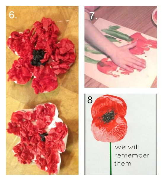 11 simple Poppy Crafts for Kids - Laughing Kids Learn # 8 is using sliced potatoes and real poppy seeds glued in the centre!!!