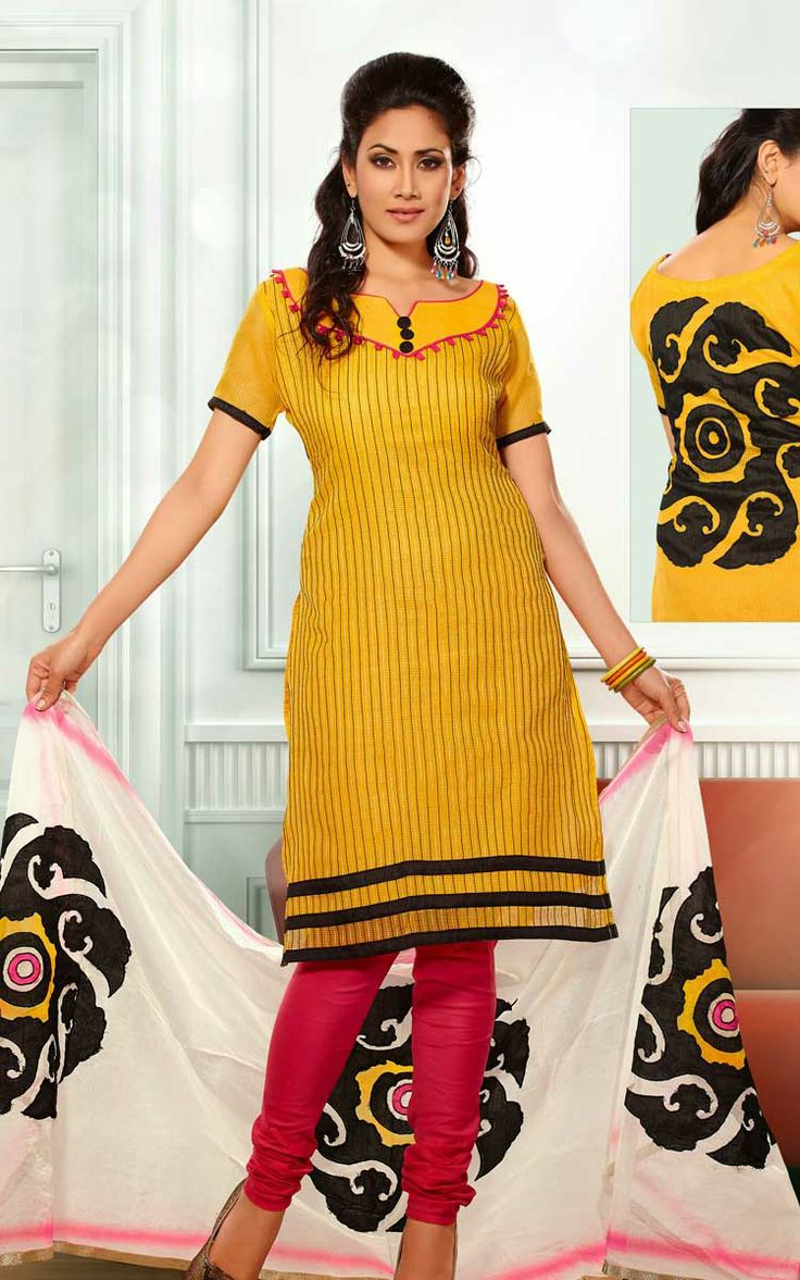 YELLOW & PINK CHANDERI COTTON SALWAR KAMEEZ - RUD 33006B