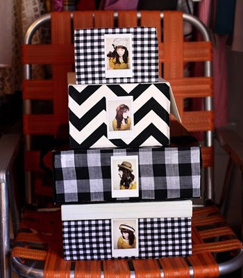 Mod Podged boxes. featured Premier Fabrics: (from top to bottom) Newton Black, Zig Zag Black, Anderson Black, Newton Black