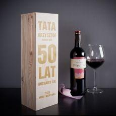 Skrzynka personalizowana na wino PIĘĆDZIESIĄTKA idealny na urodziny